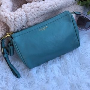 Coach | Turquoise Wristlet Pouch with Tassle